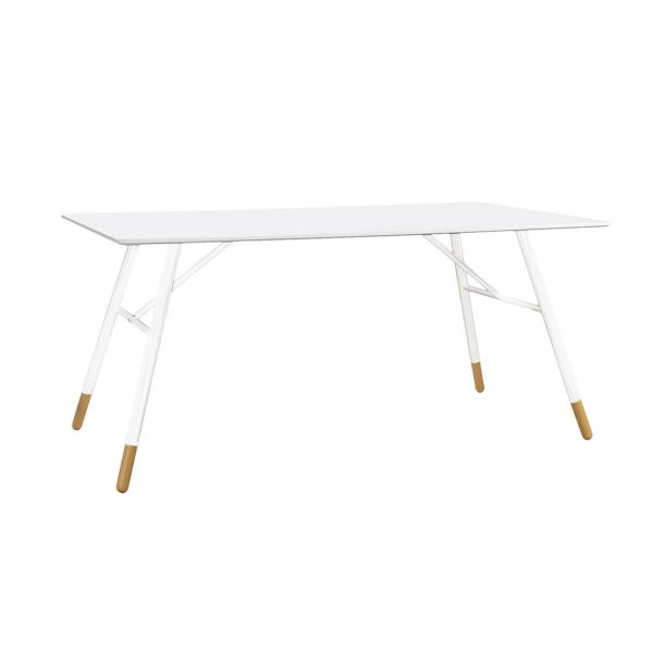 Table rectangulaire laqué blanc 160 cm Scandie