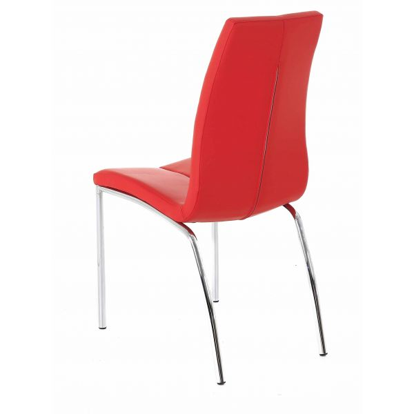 Chaise similicuir rouge Aura