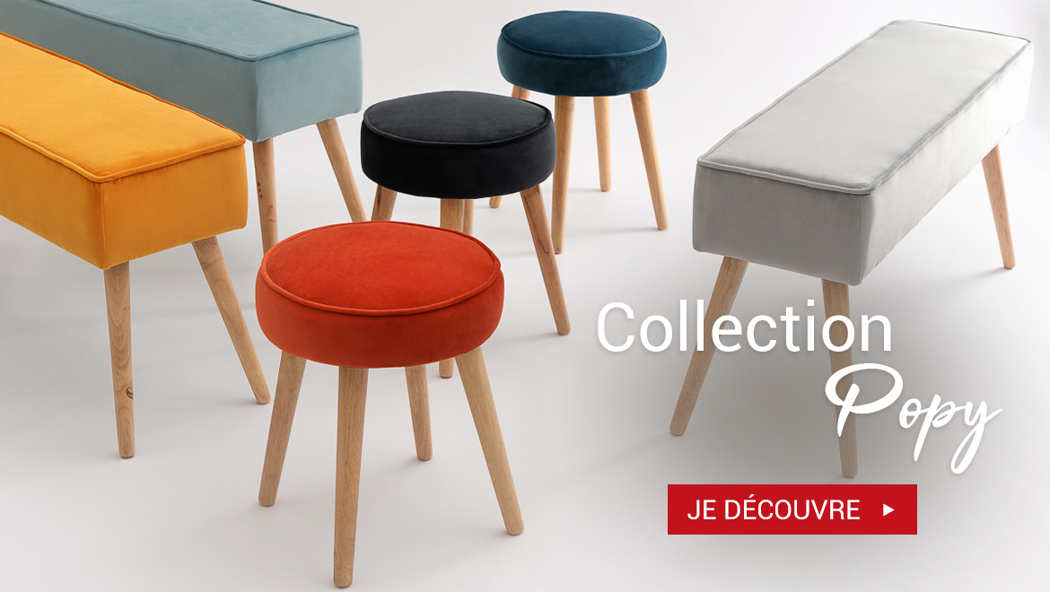 Collection Popy tabourets et bancs en velours